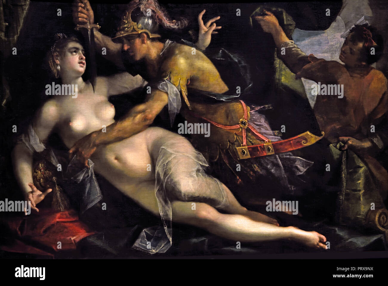 Tarquinius and Lucretia 1600 Hans von Aachen 1552-1615 German Germany ( Sextus Tarquinius, son of the Etruscan King of Rome, forced the Roman matron to submit to his advances by threatening to kill her , Lucretia told her family of this outrage and took her own life.  ) - Stock Image