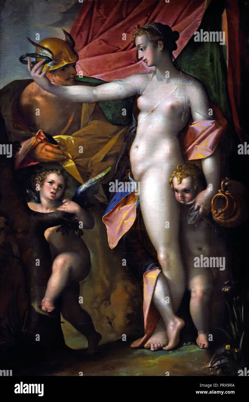 Venus and Mercury 1595 Bartholomeus Spranger 1546-1611 Flemish Belgian Belgium  Greek, Roman, mythology, (myths often consist of sacred narratives about gods), - Stock Image