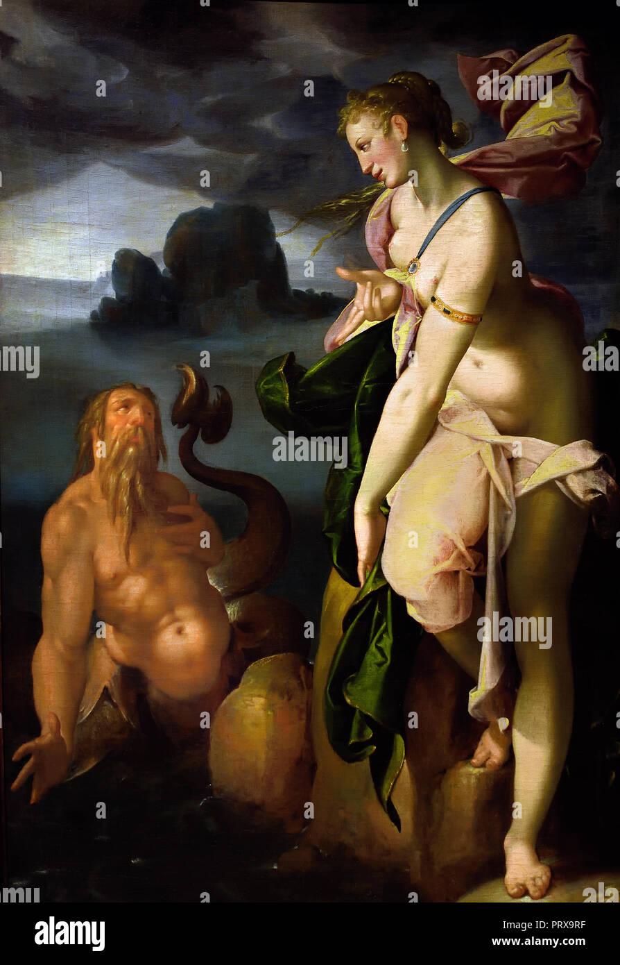 Glaucus and Scylla  (Glaucus, a fisherman turned sea god, spots the beautiful nymph, Scylla,) 1580-1582   Bartholomeus Spranger 1546-1611 Flemish Belgian Belgium  Greek, Roman, mythology, (myths often consist of sacred narratives about gods), - Stock Image