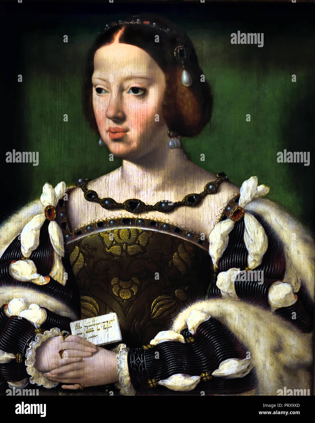 Queen Eleanor of France 1530 painter Joos van Cleve 1487-1541 Dutch the Netherlands ( Eleanor of Austria (1498 – 1558),  called Eleanor of Castile,  Archduchess of Austria and Infanta of Castile from the House of Habsburg, and subsequently became Queen consort of Portugal (1518–1521) and of France (1530–1547). - Stock Image