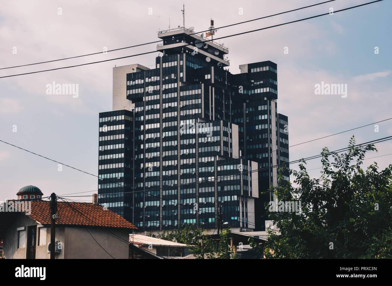MRT Center (Macedonian Radio Television building), built in 1984, Skopje, Republic of Macedonia, September 2018 - Stock Image