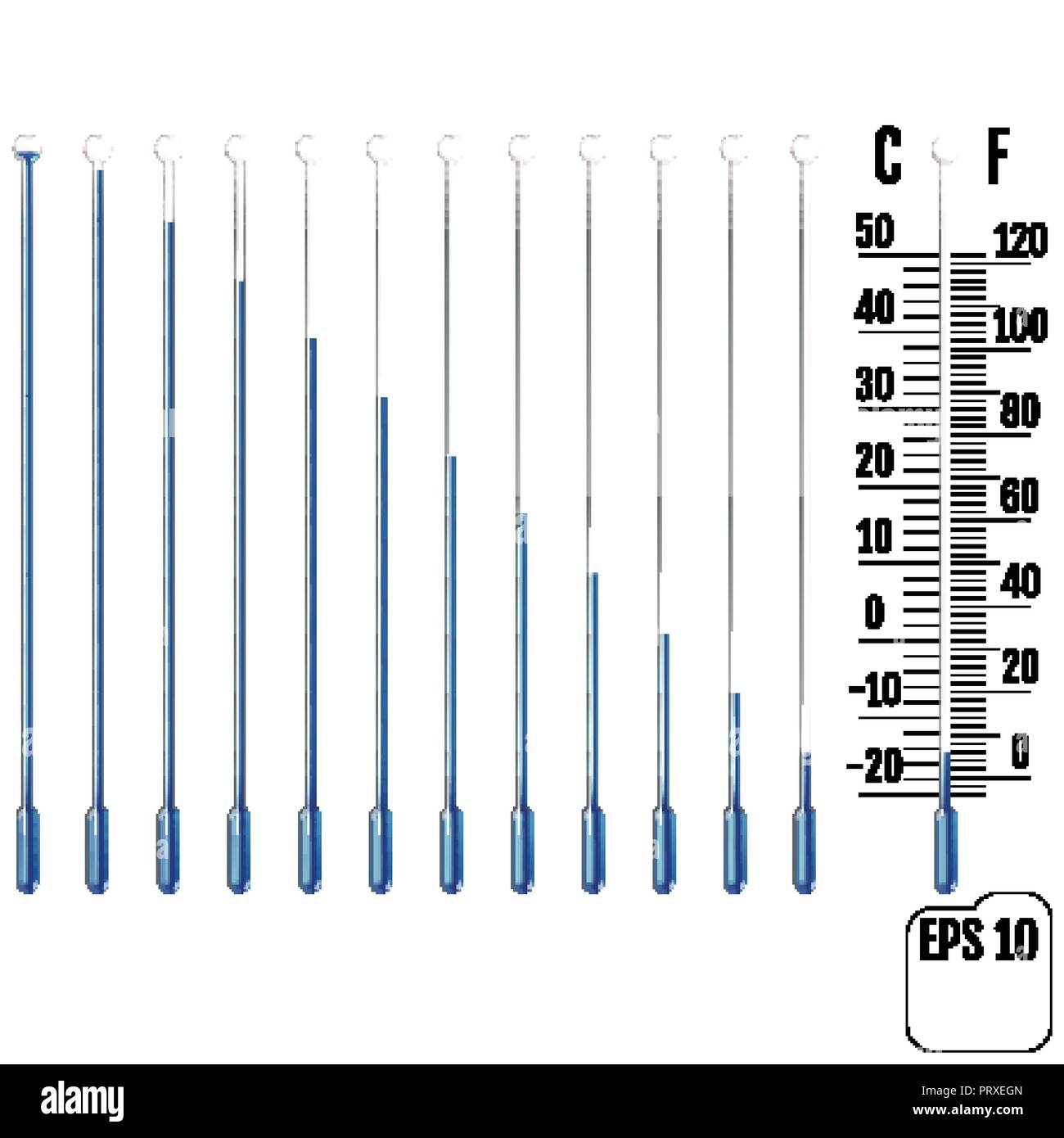 Set of realistic capillary tube with fluid, bulb and overload chamber. Parts of liquid thermometers. Scale of measuring temperature in Celsius and For - Stock Vector