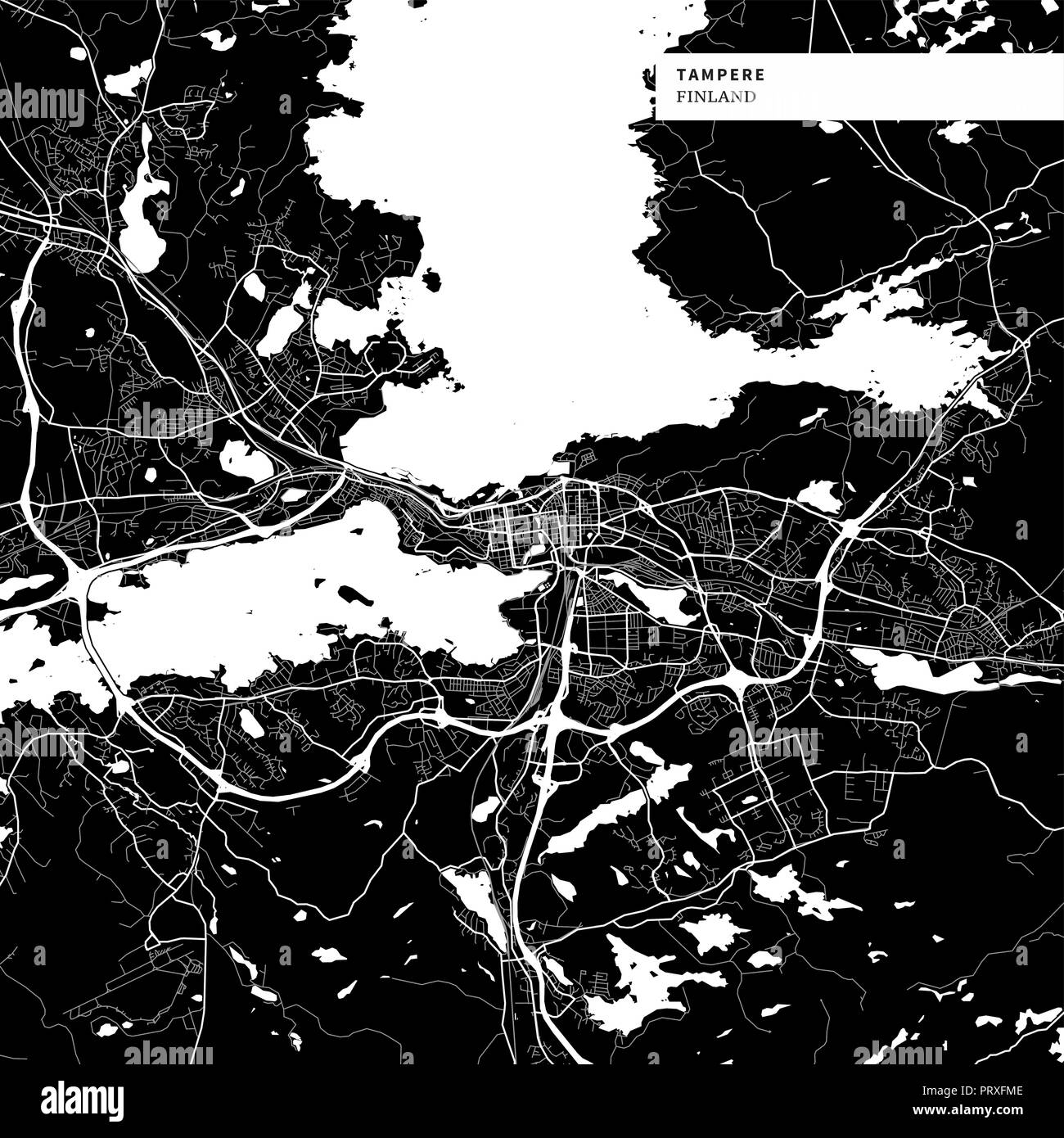 Area map of Tampere, Finland with typical urban landmarks like buildings, roads, waterways and railways as well as smaller streets and park trails. Re - Stock Vector