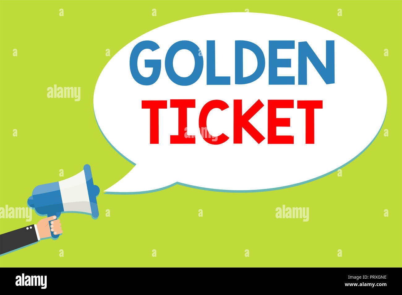 Word writing text Golden Ticket. Business concept for Rain Check Access VIP Passport Box Office Seat Event Man holding megaphone loudspeaker speech bu - Stock Image