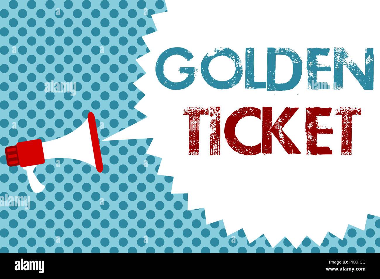Text sign showing Golden Ticket. Conceptual photo Rain Check Access VIP Passport Box Office Seat Event Megaphone loudspeaker speech bubble message blu - Stock Image