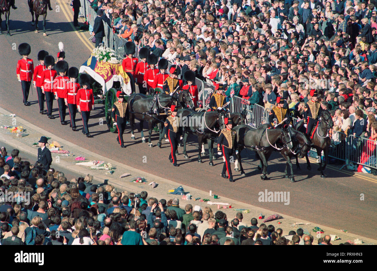 The Funeral Cortege Of Diana Princess Of Wales Moves Away From