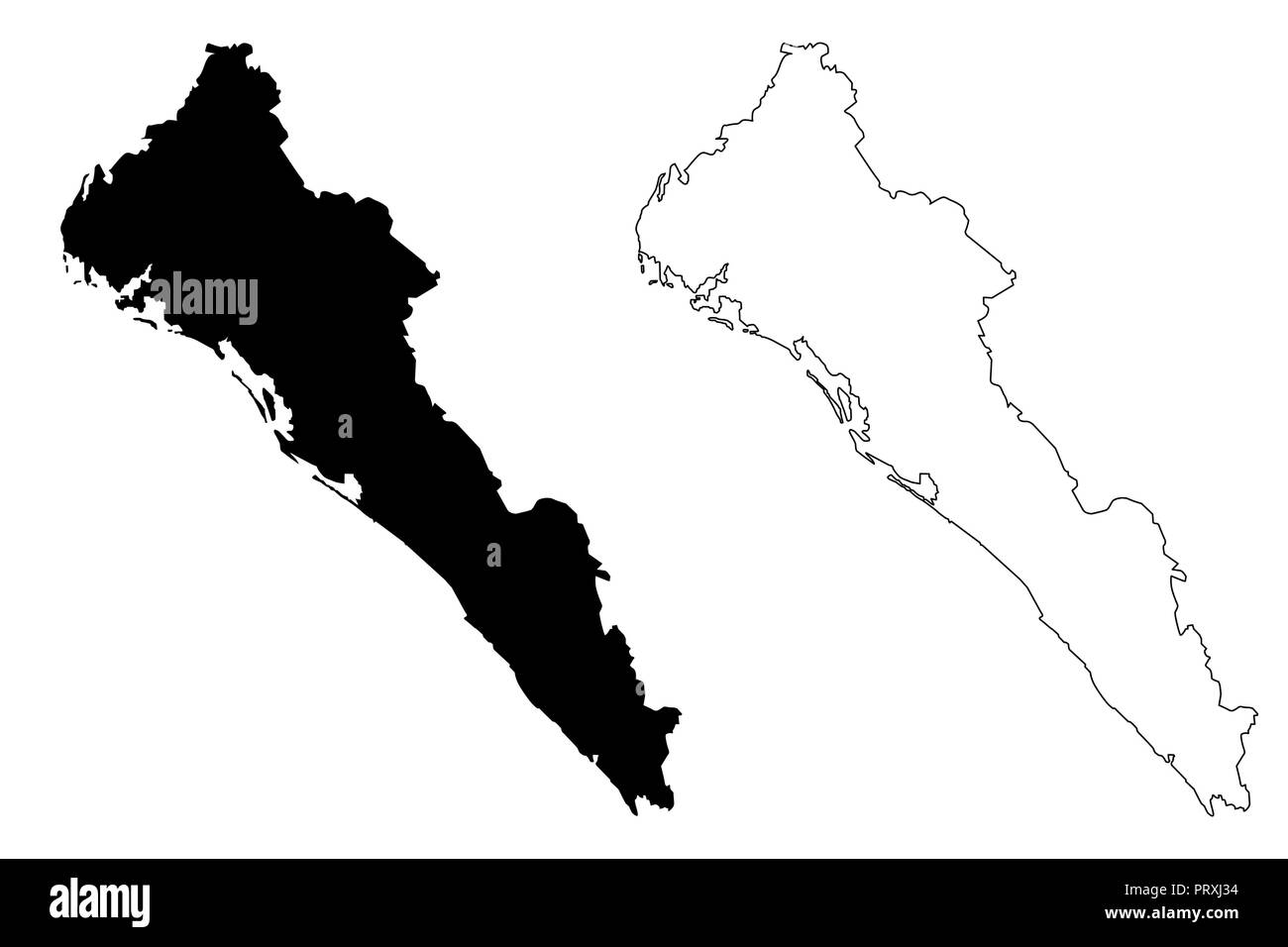 Sinaloa (United Mexican States, Mexico, federal republic) map vector ...