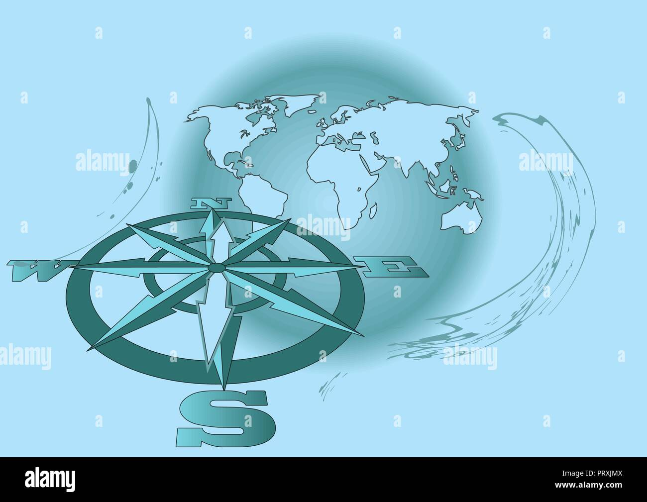 Wind Rose And Map On The Background With Earth Stock Vector Art