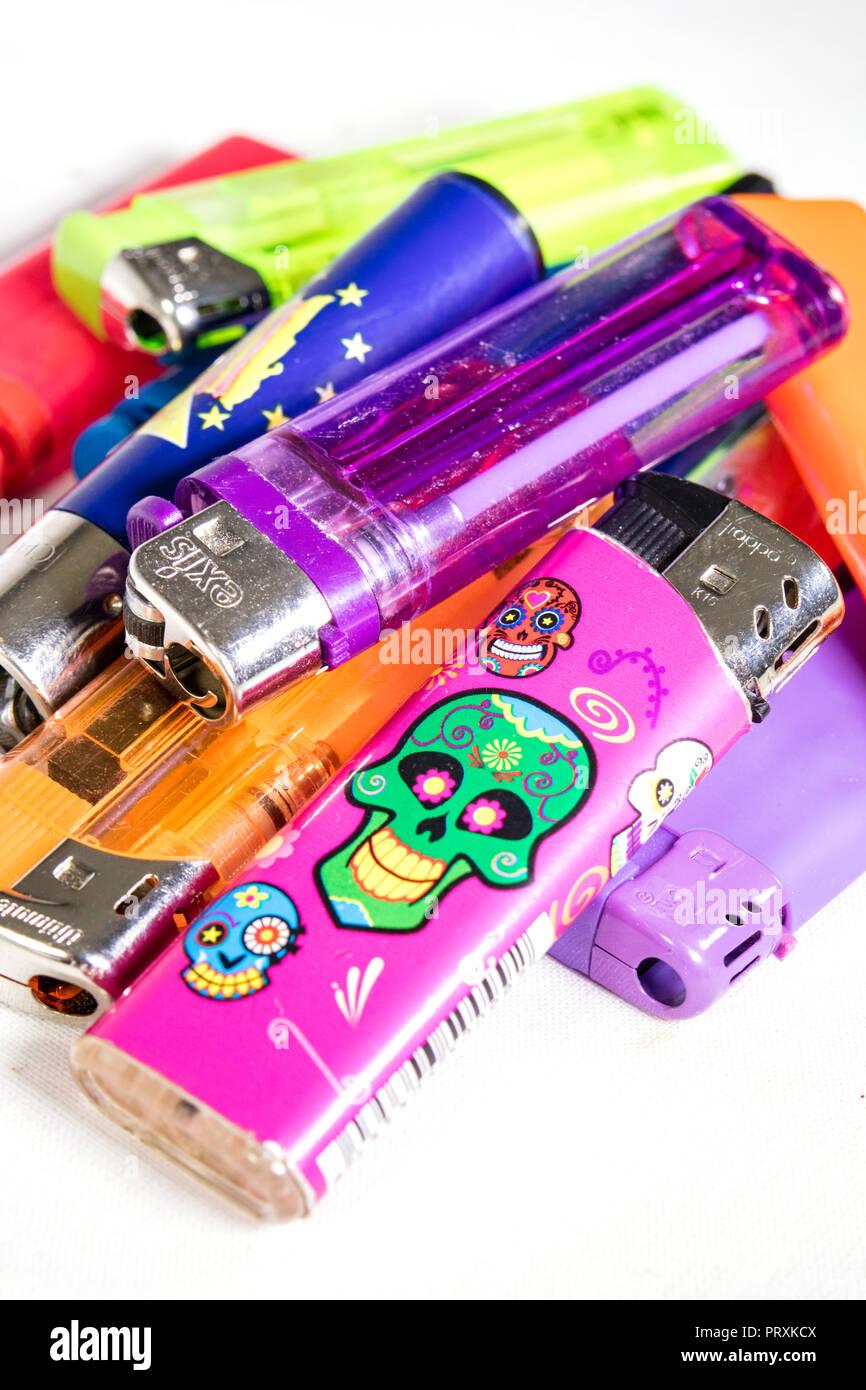 Spent lighters cigarette lighters, - Stock Image