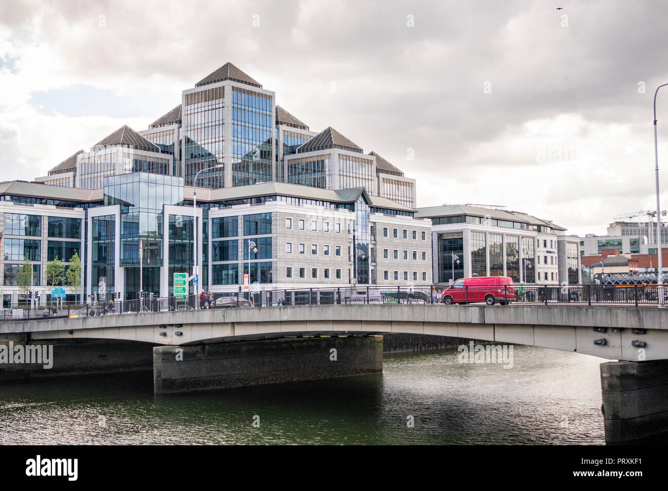 Modern buildings on the south bank of the river Leffey, George's Quay,  Dublin, Ireland, Europe. - Stock Image