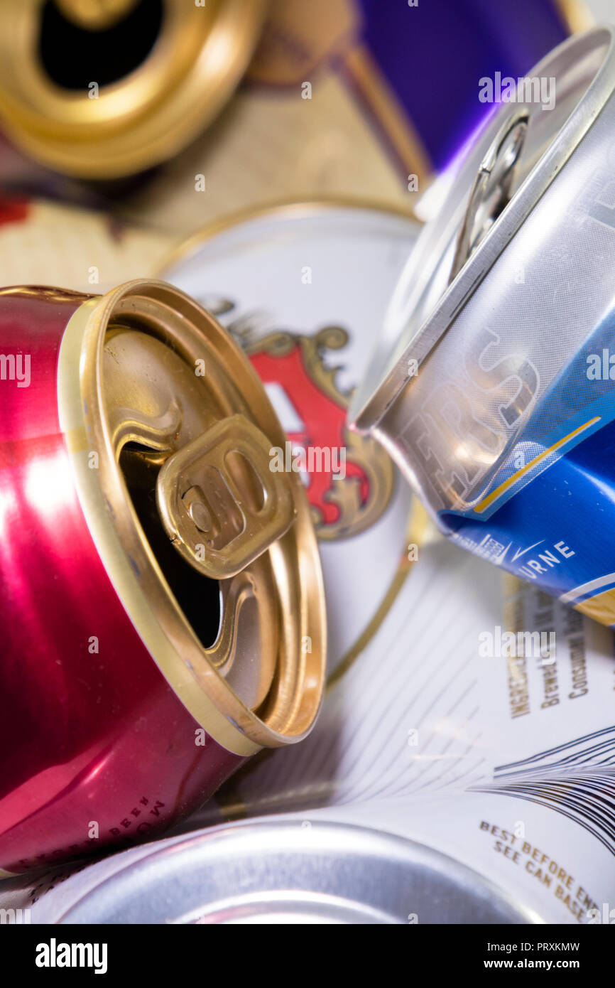 Empty Beer and Larger cans - Stock Image