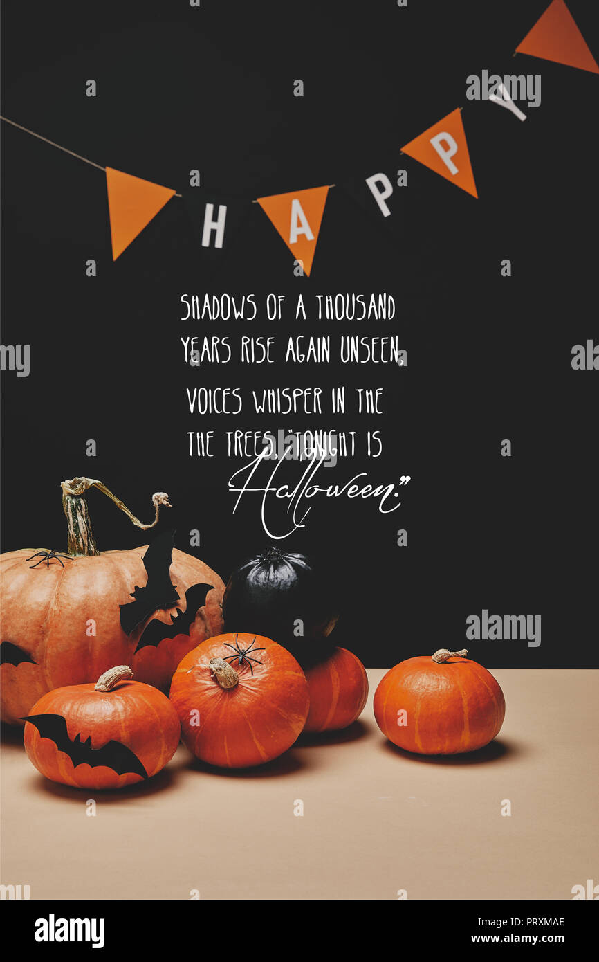 Pumpkins Paper Bats And Paper Garland With Word Happy And