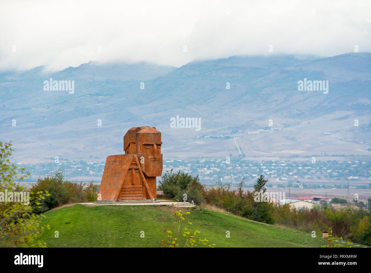 The 'We Are Our Mountains' sculpture on the out skirts of the capitol city Stepanakert of the disputed Nagorno-Karabakh Republic, as known as the Repu - Stock Image