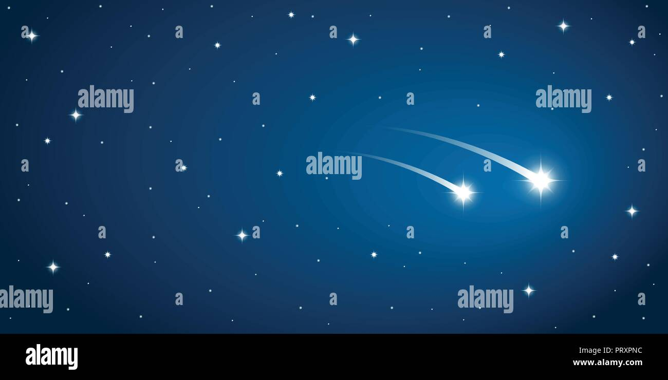 two falling stars in the starry sky vector illustration EPS10 Stock Vector