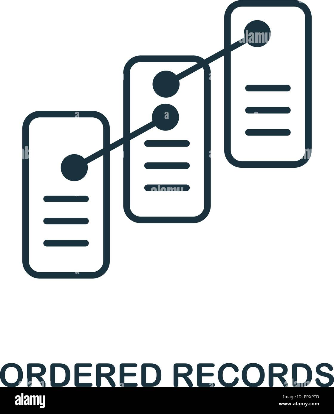 Ordered Records icon. Monochrome style design from blockchain collection. UX and UI. Pixel perfect ordered records icon. For web design, apps, softwar - Stock Vector