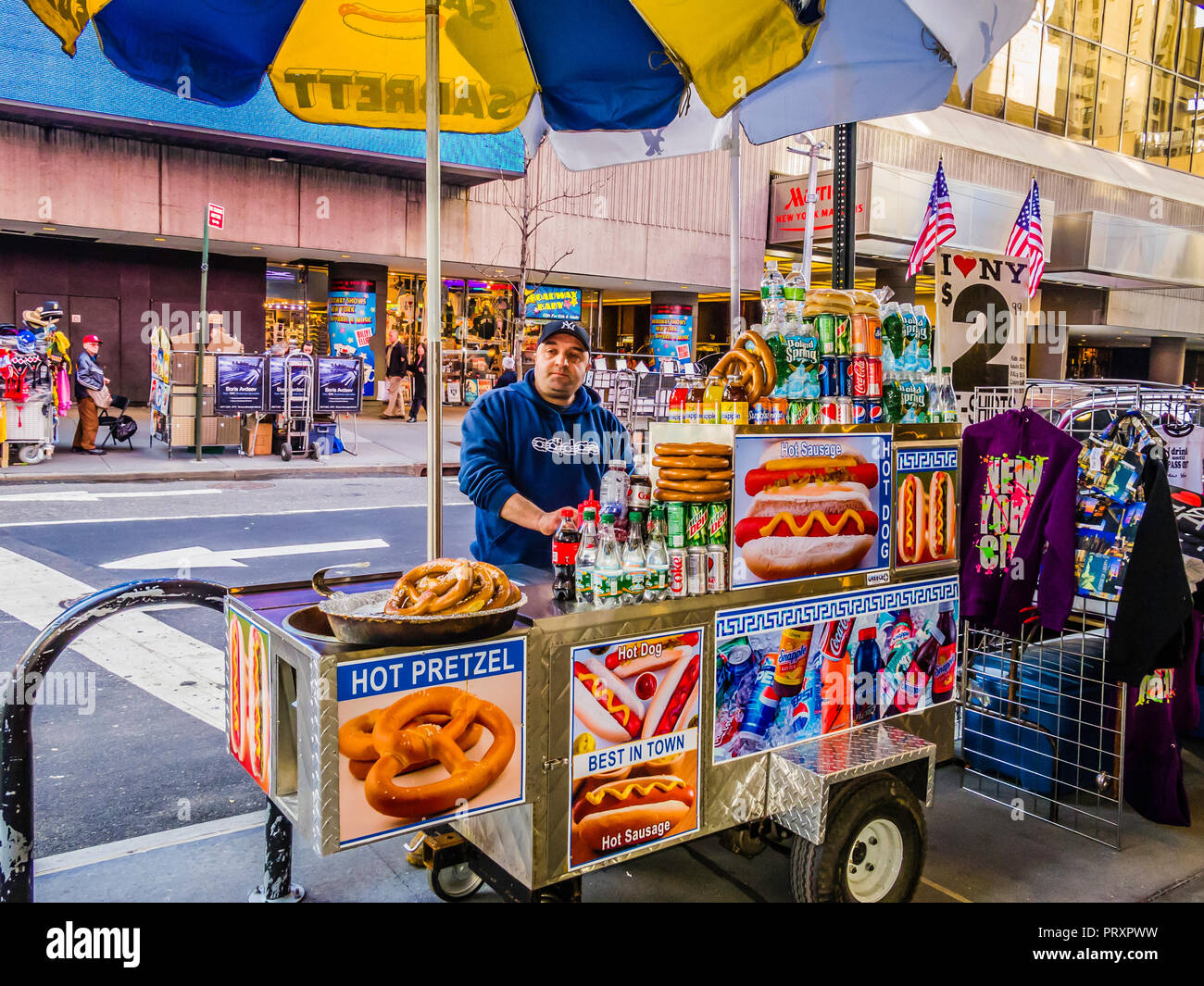 Hot Dog Cart Times Square Theater District Manhattan New York, New York,  USA Stock Photo - Alamy