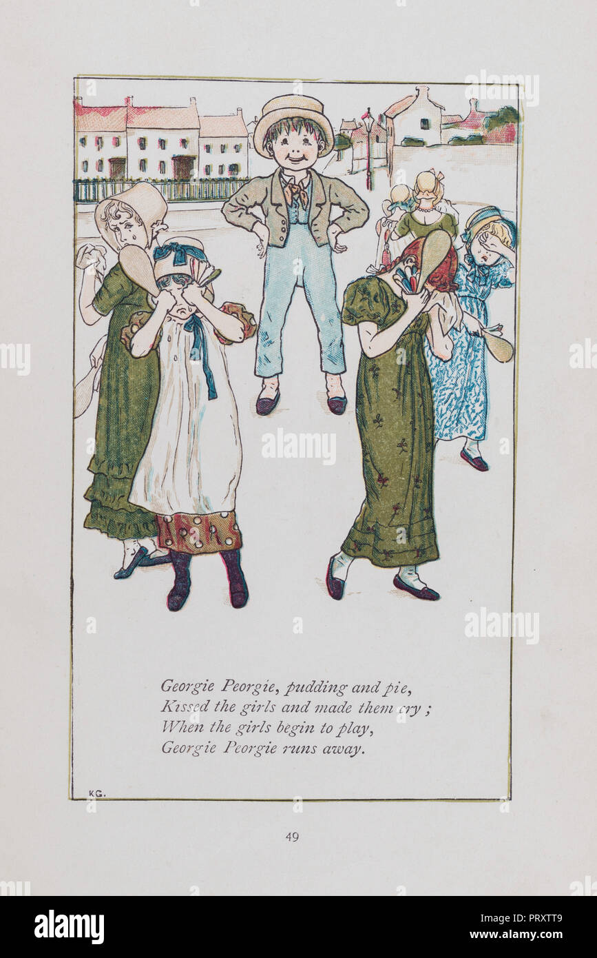 Georgie Porgie traditional nursery rhyme from Mother Goose illustrated by Kate Greenaway and originally published in 1881 - Stock Image