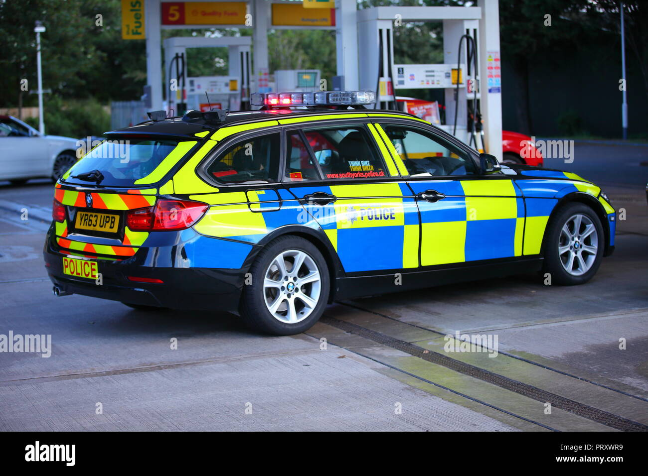 A black battenberg police car belonging to South Yorkshire Police Force which is a different colour to rest of their fleet of vehicles. Stock Photo