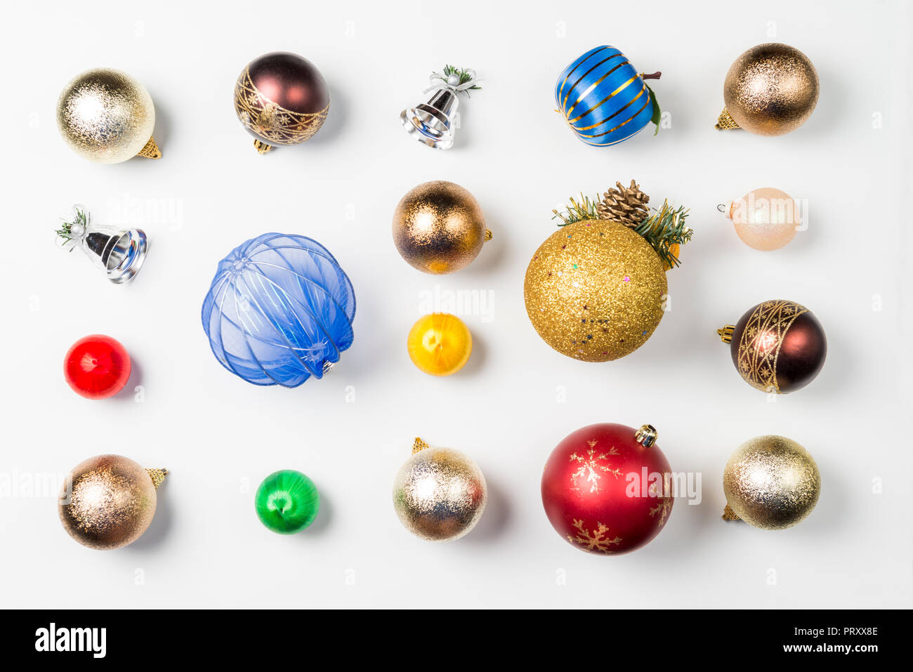 Composition with balls and Christmas decorations on white background ...