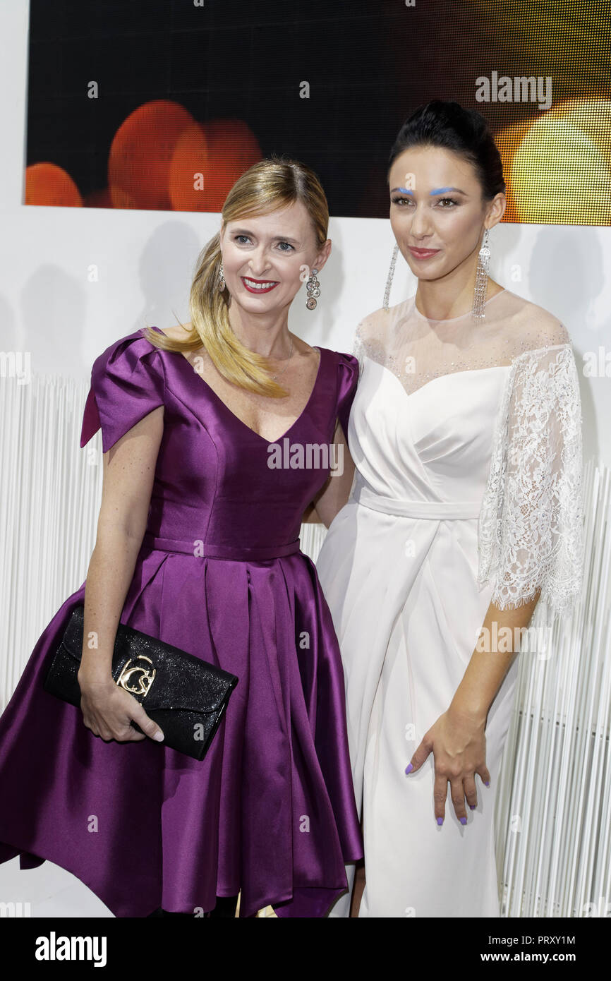 Paris, France. 2nd Oct, 2018. Annabelle Millot and Delphine Wespiser attend the Christophe Guillarmé Fashion Show Spring-Summer 2019 Collection at L'A - Stock Image