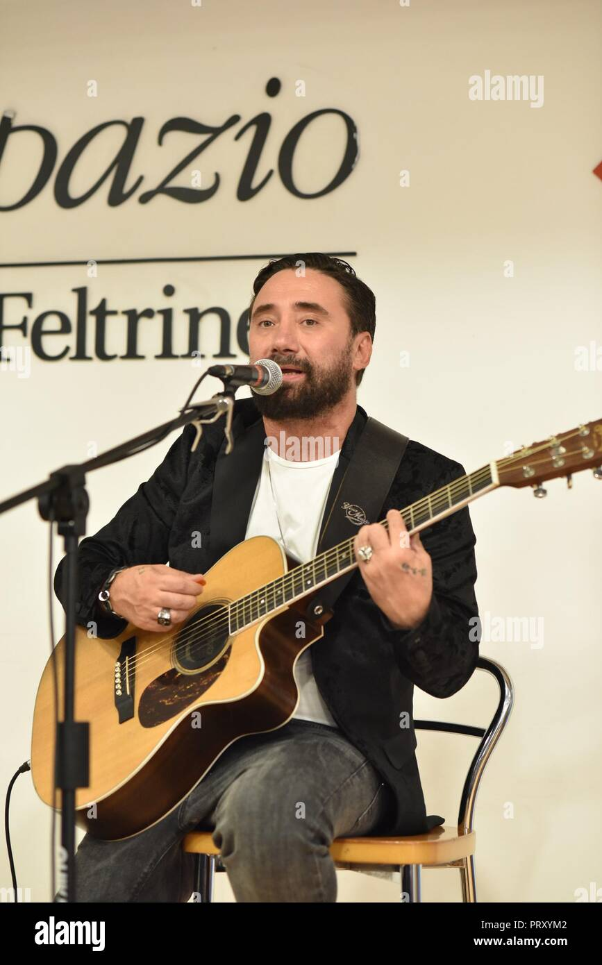 Federico Zampaglione seen performing live during his new album Fino a qui launch at LaFeltrinelli. An Italian singer, songwriter, Federico Zampaglione a frontman of Tiromancino. Stock Photo