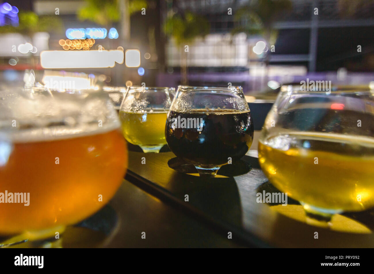 Beer tasting in Tijuana, room for text - Stock Image