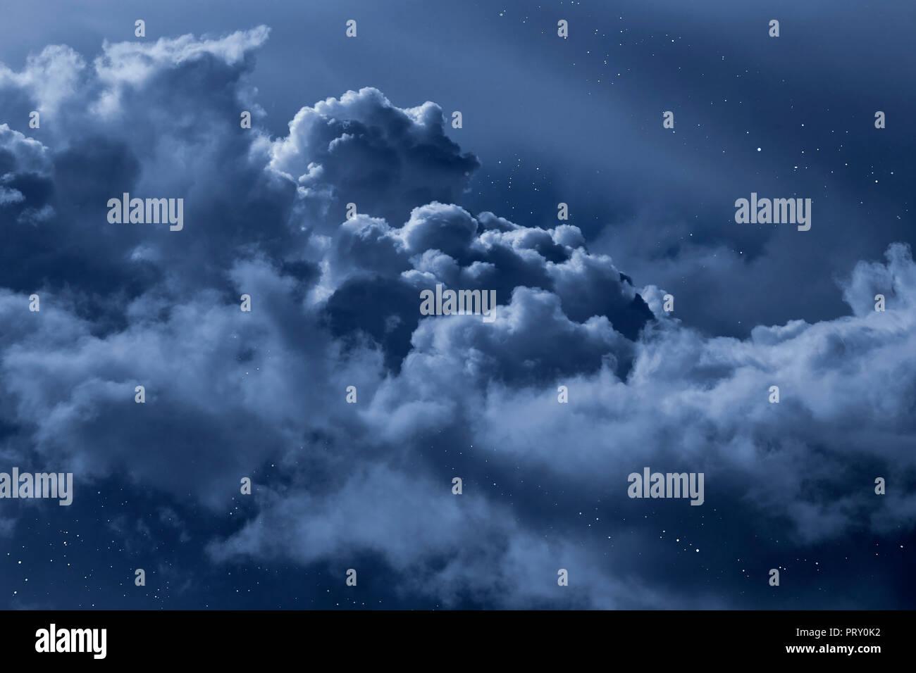 Cloudy Night Sky Stars Cloudy Sky Seen...