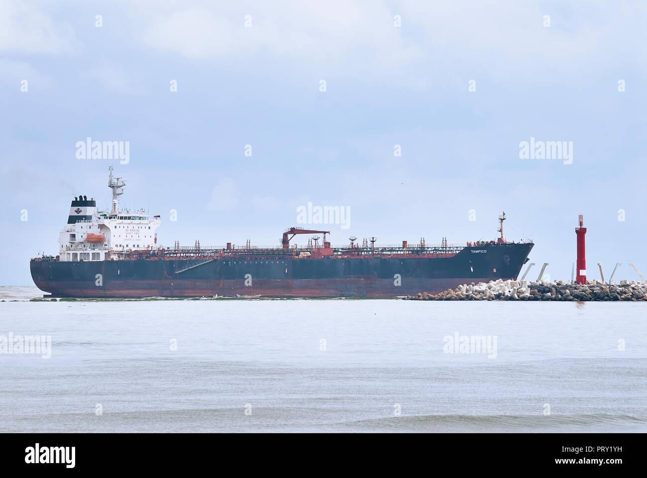 "COATZACOALCOS, VER/MEXICO - SEPT 28, 2018: ""Tampico"" oil and chemical tanker ship enters the river to the Pajaritos logistics terminal Stock Photo"