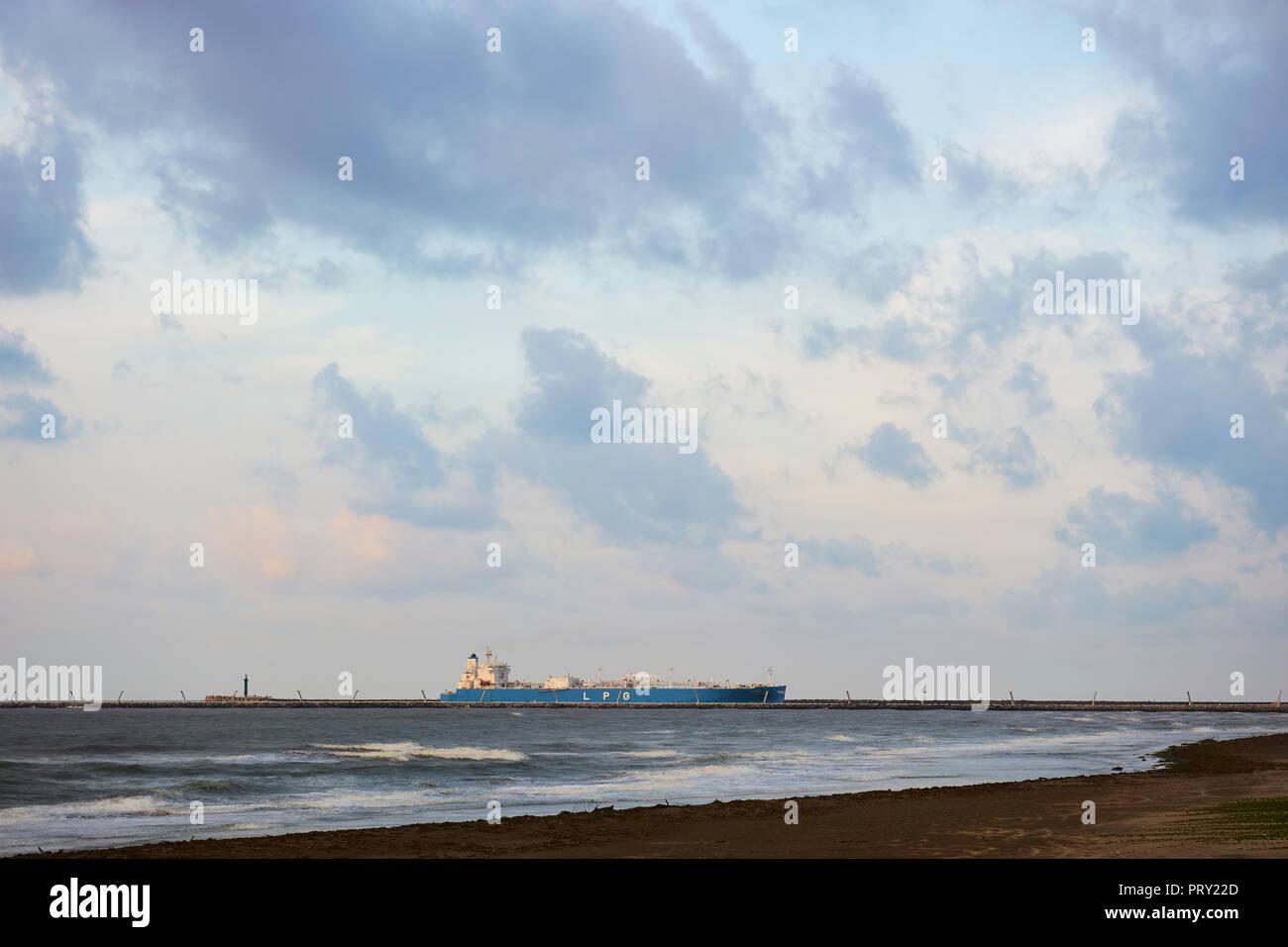 """COATZACOALCOS, VER/MEXICO - OCT 2, 2018: """"Albert"""" LPG gas carrier tanker ship enters the Coatzacoalcos river, to the Pajaritos logisitics terminal. Stock Photo"""