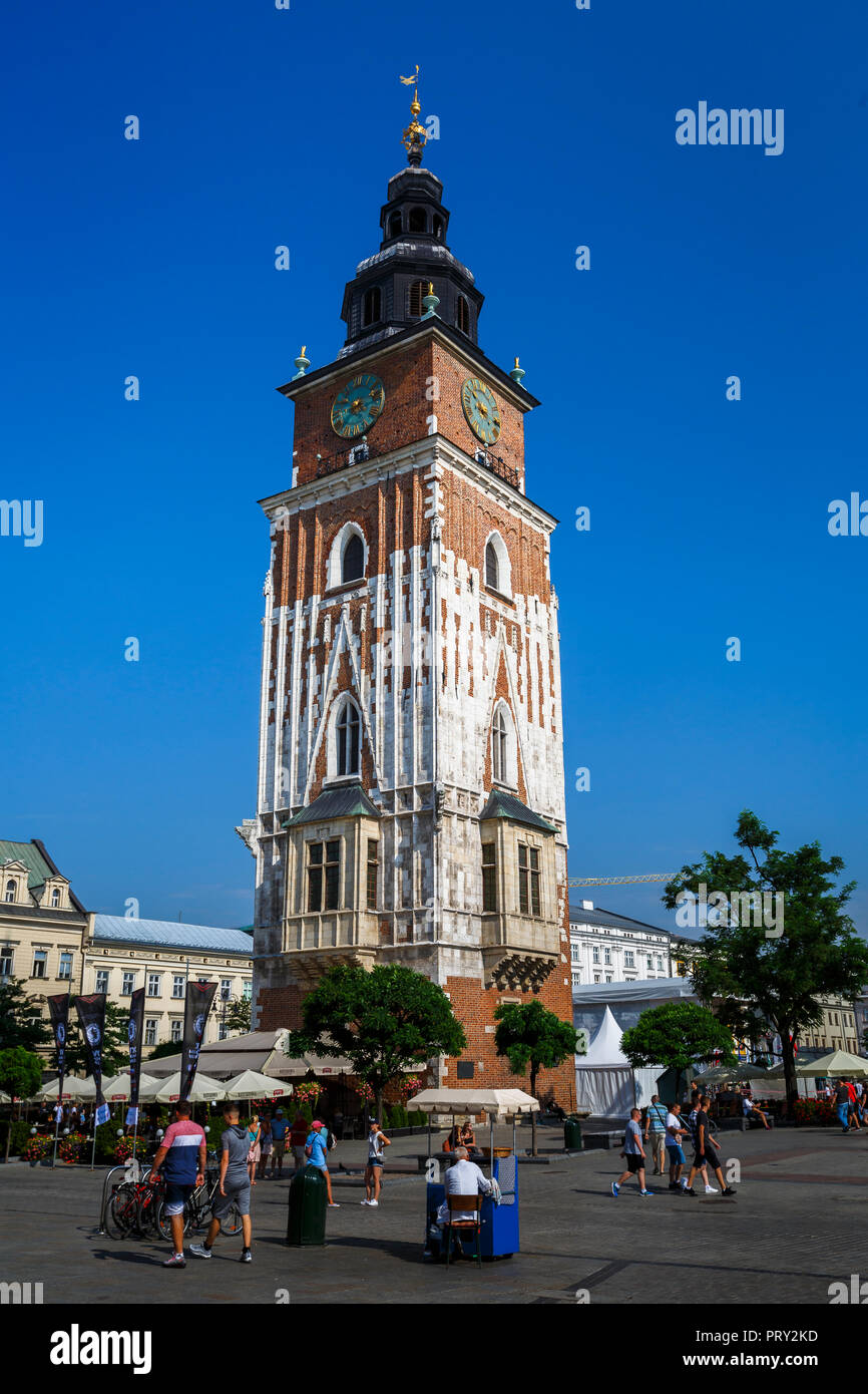 Krakow, Poland - August 23, 2018: The Town Hall Tower in the main square of Krakow, Poland. - Stock Image