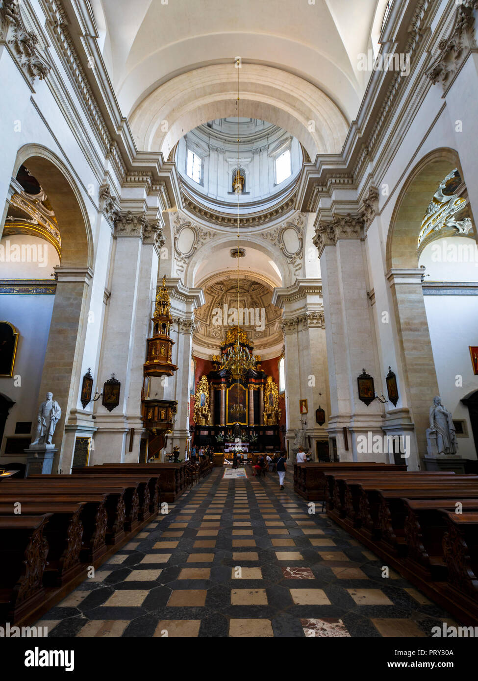 Krakow, Poland - August 23, 2018: Interior of Saints Peter and Paul Church in the old town of Krakow, Poland. - Stock Image
