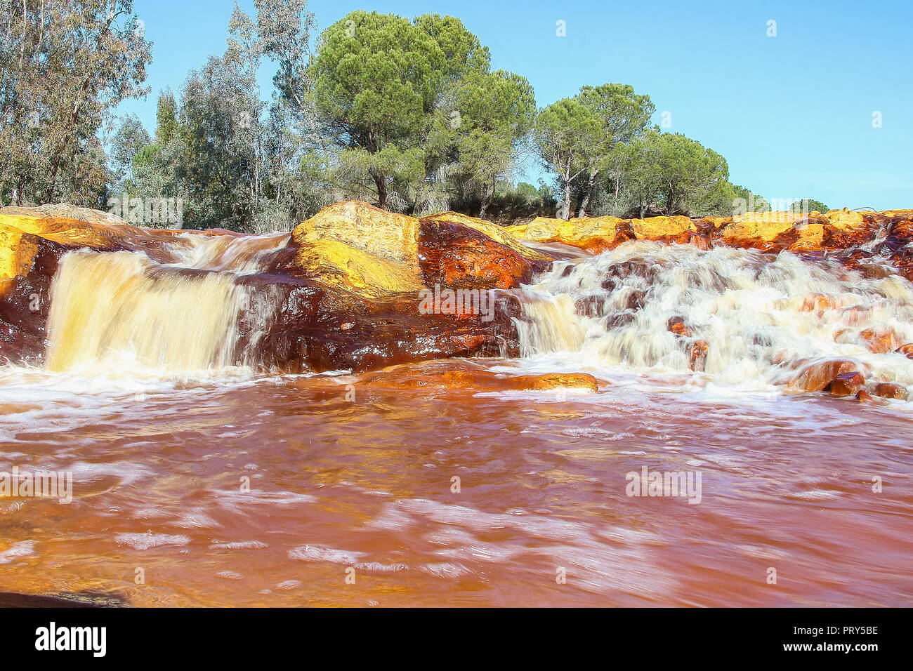"Red river waterfall, ""Rio Tinto"" Stock Photo"