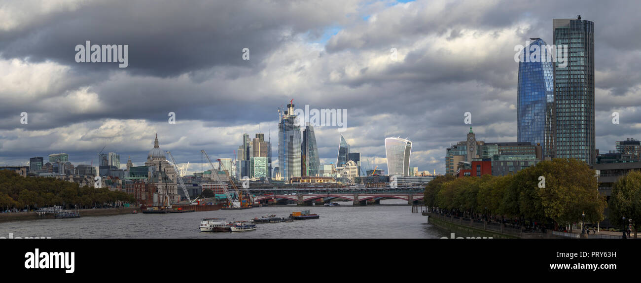 Panoramic View Looking East From Waterloo Bridge Over The