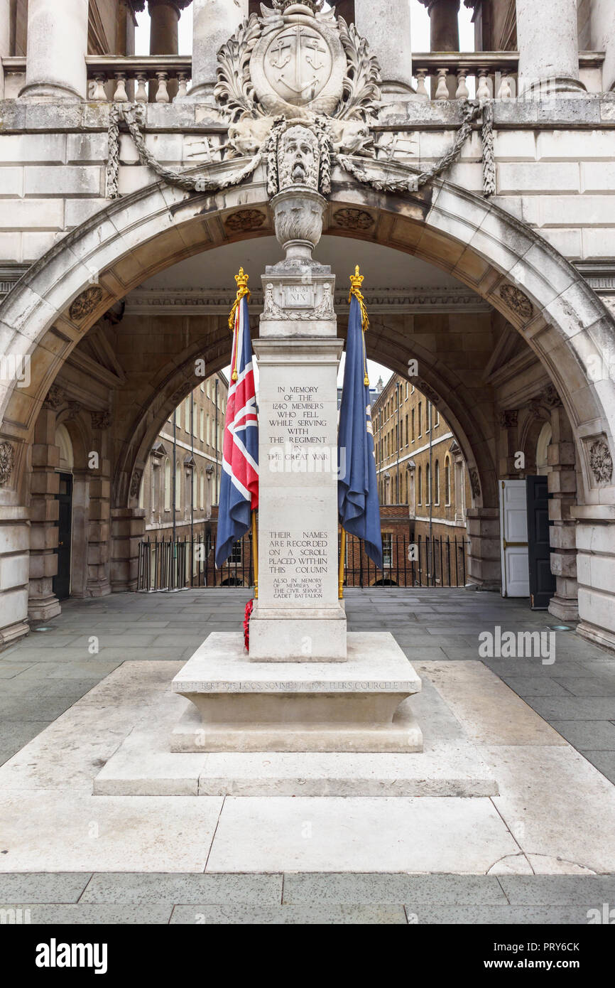 Civil Service Rifles War Memorial, a First World War memorial designed by  Edwin Lutyens on Somerset House Riverside Terrace, Strand, London WC2