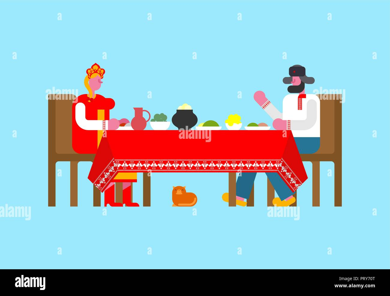 Russian folk family Dinner. Large table in Russia. Traditional  national costume. - Stock Vector