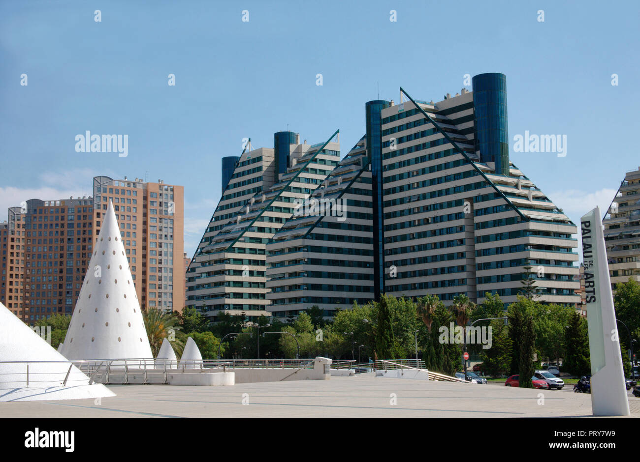 Contemporary multistory buildings near the City of Arts and Science in Valencia - Stock Image