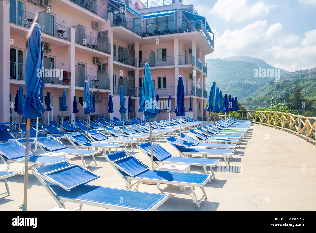 Hotel Pool Sunbeds Parasols Hills Mountain Background Vico