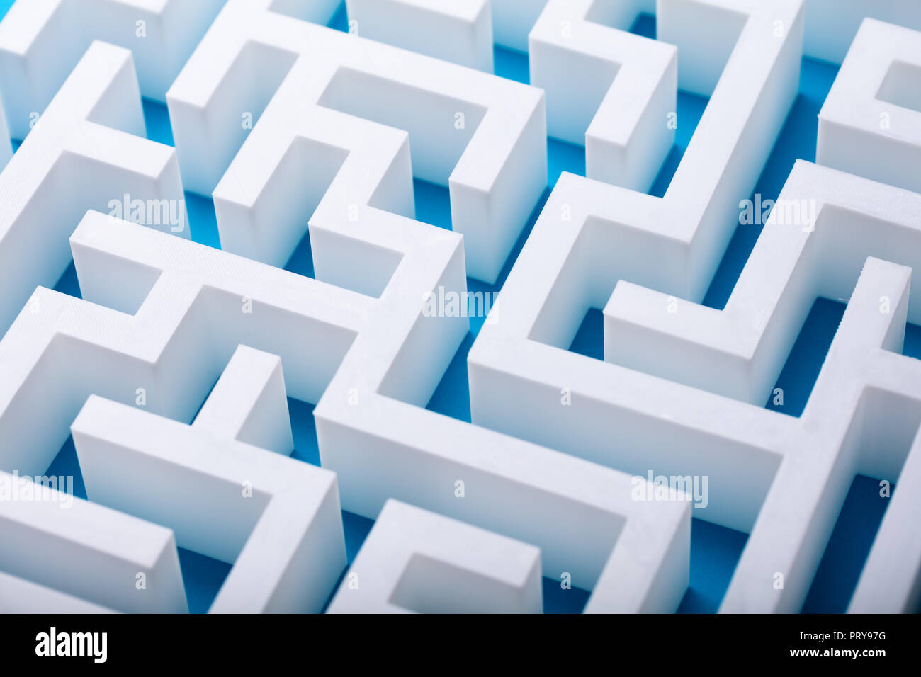 Elevated View Of Abstract Empty White Maze - Stock Image