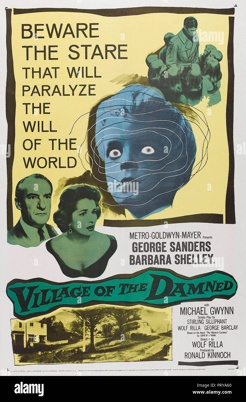 Prod DB © Metro-Goldwyn-Mayer British Studios / DR LE VILLAGE DES DAMNES VILLAGE OF THE DAMNED de Wolf Rilla 1960 GB affiche one sheet americaine fant - Stock Image