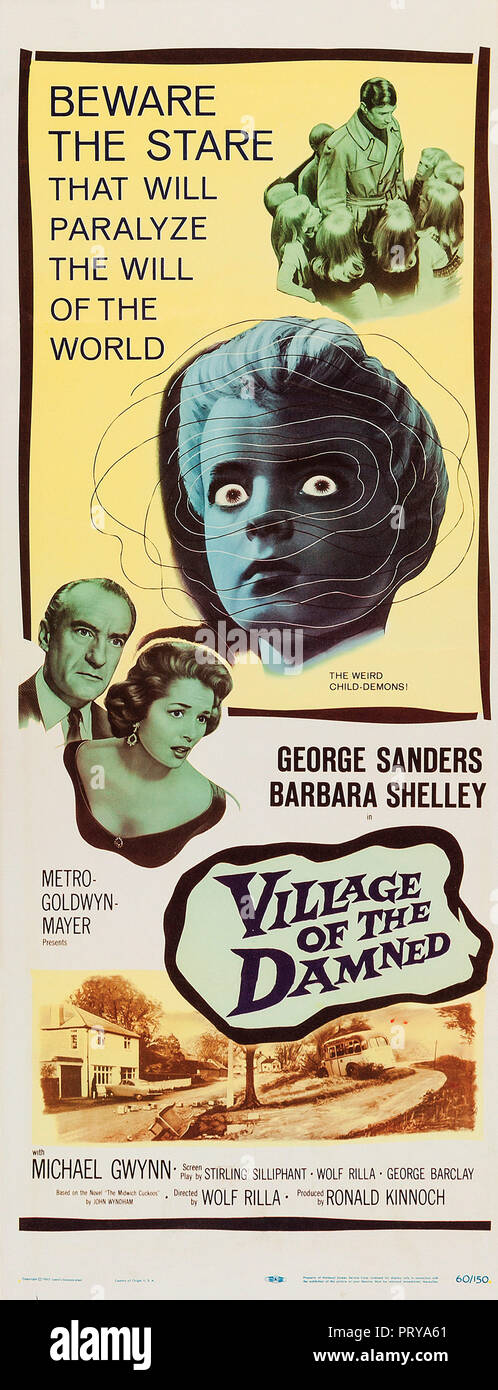 Prod DB © Metro-Goldwyn-Mayer British Studios / DR LE VILLAGE DES DAMNES VILLAGE OF THE DAMNED de Wolf Rilla 1960 GB affiche insert americaine fantast - Stock Image