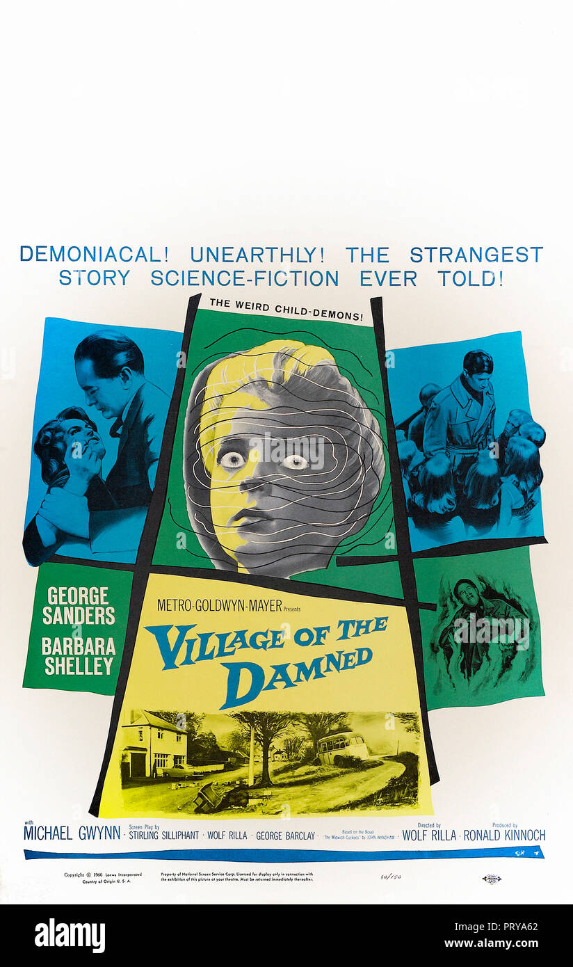 Prod DB © Metro-Goldwyn-Mayer British Studios / DR LE VILLAGE DES DAMNES VILLAGE OF THE DAMNED de Wolf Rilla 1960 GB affiche window card americaine fa - Stock Image