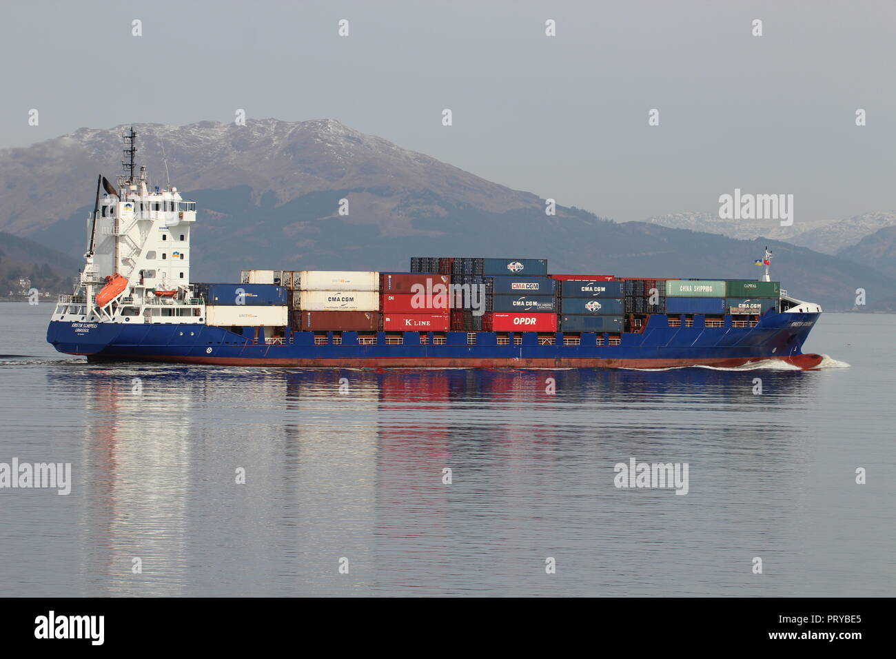 MS Kristin Schepers, a container vessel operated by HS Schiffahrt, passing Gourock on the Firth of Clyde. Stock Photo