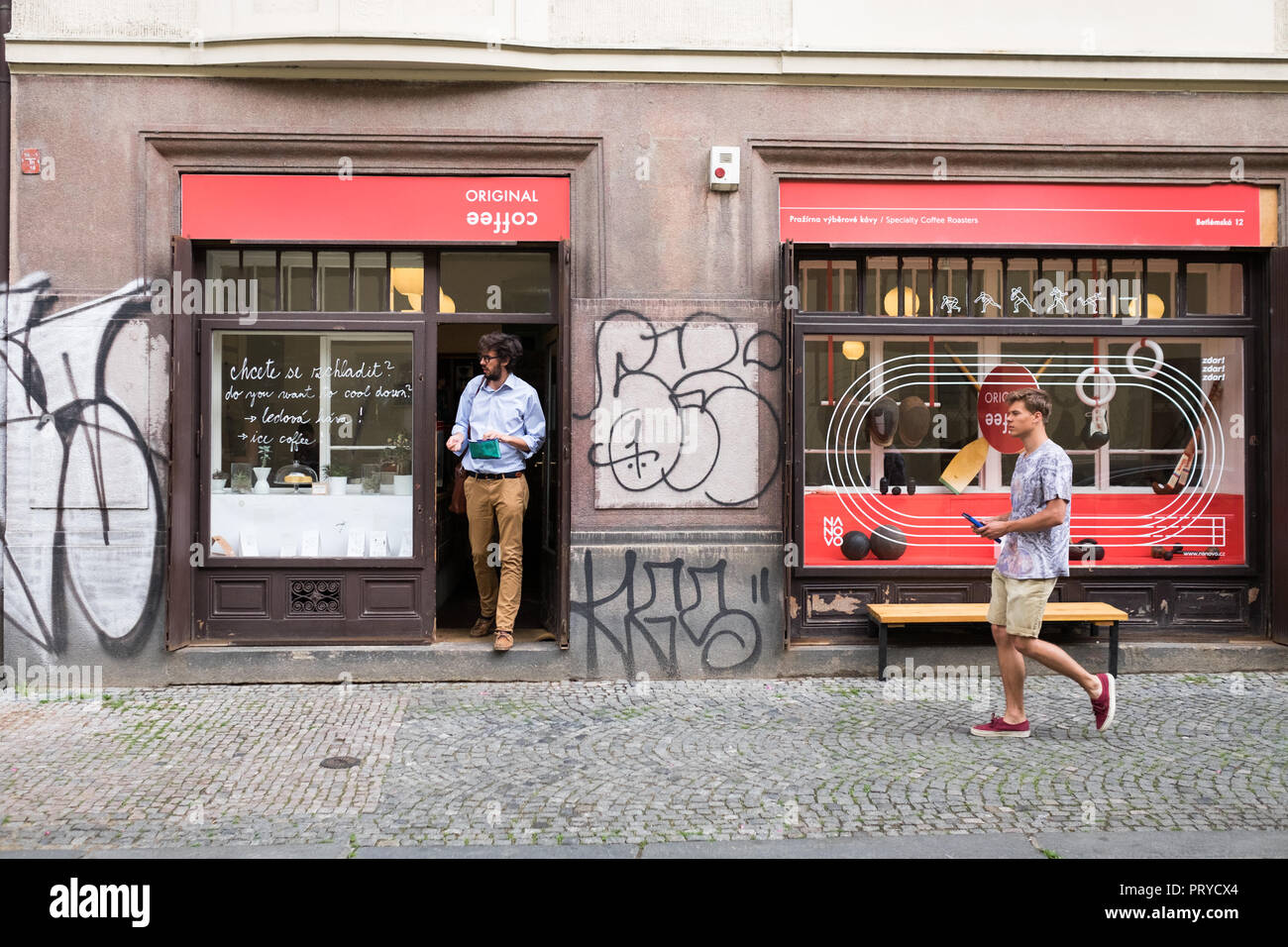 Exterior of Original Coffee - specialty coffee roasters in Prague, Czech Republic - Stock Image