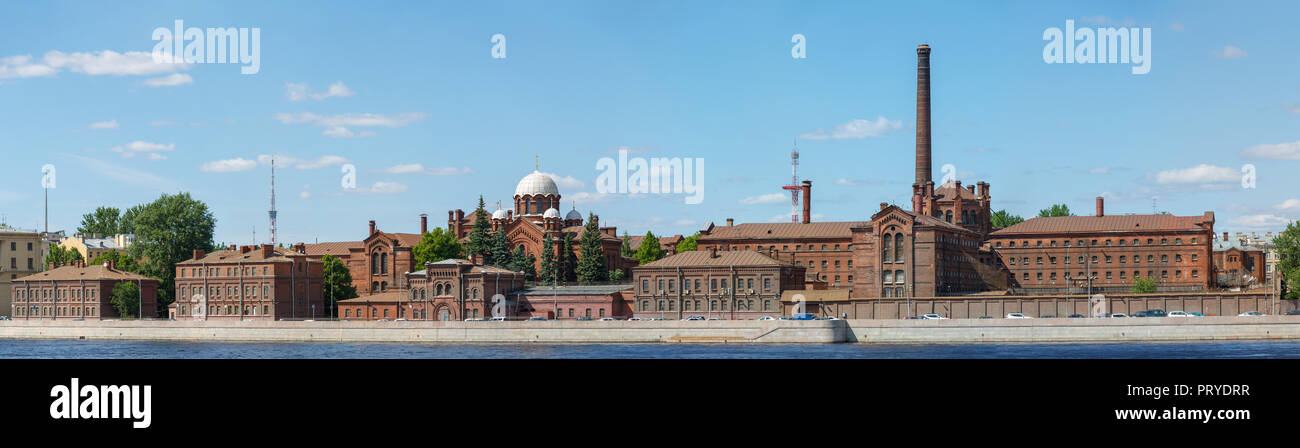 Russia, Saint-Petersburg, 30 May 2018: Panorama overlooking the Pretrial Detention Centre, a prison called Crosses, Kresty on the embankment of the Ne - Stock Image