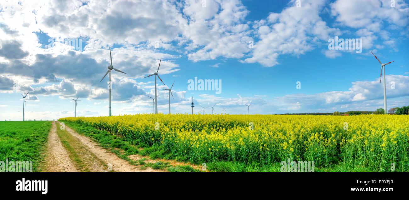 Blauer Himmel mit dramatischen Wolken über Rapsfeld mit Landweg und Windkraftanlagen - Stock Image