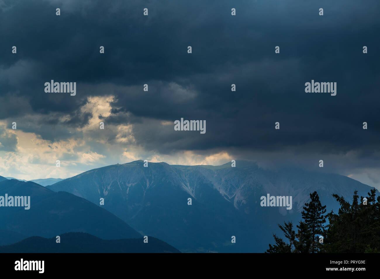 Schneeberg before thunderstorm and hail Stock Photo