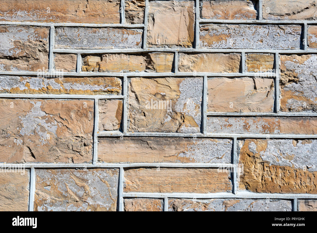 Bordered bricks, house facade, background image, Kirkwall, Orkney, Scotland, Great Britain - Stock Image