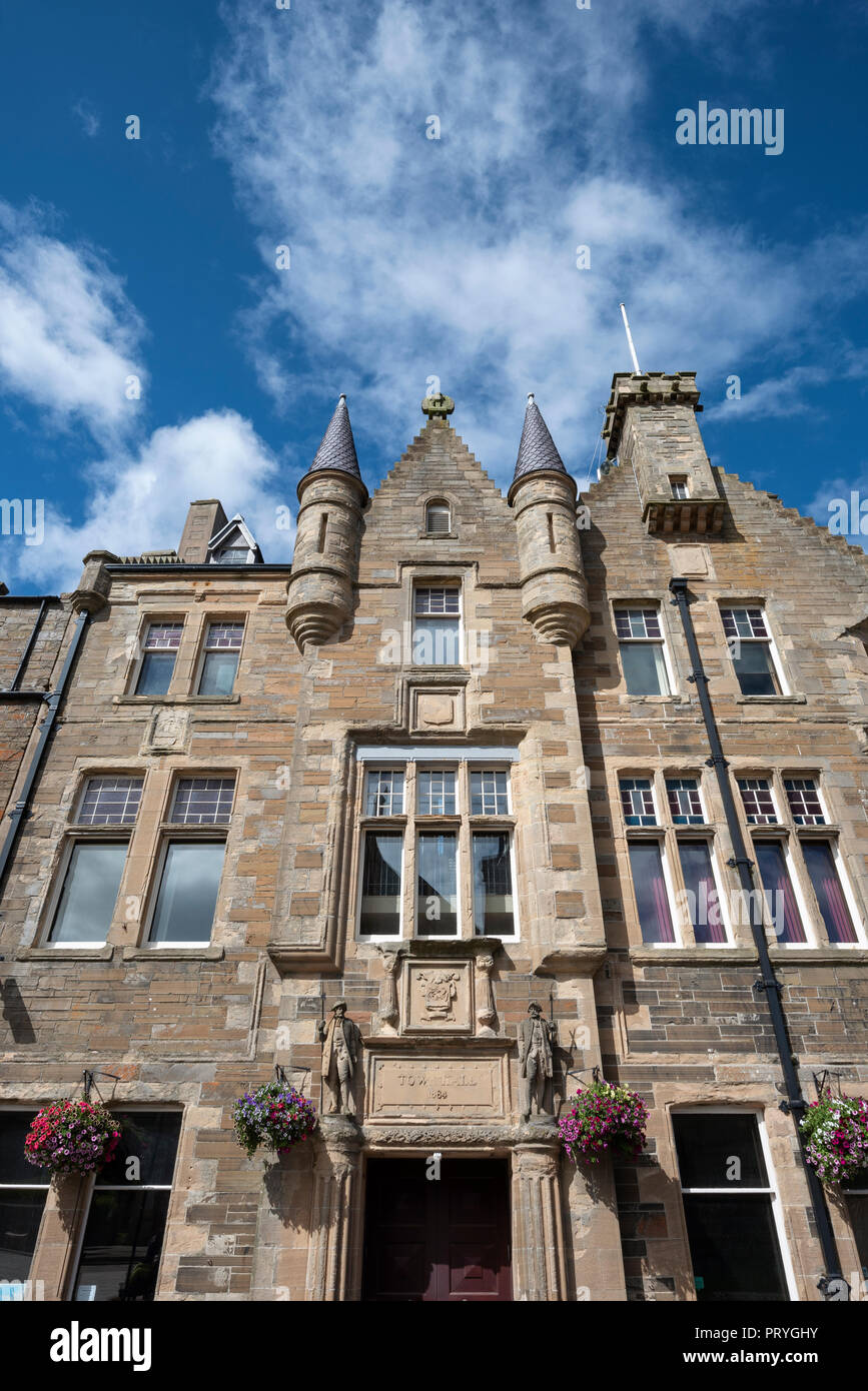 Historic Town Hall, Kirkwall, Mainland, Orkney Islands, Scotland, United Kingdom - Stock Image