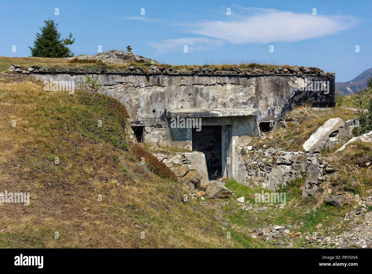 Main bunker, defence system Plamort, Second World War, to protect Italy from Nazi Germany, near the Plamorter moss biotope - Stock Image