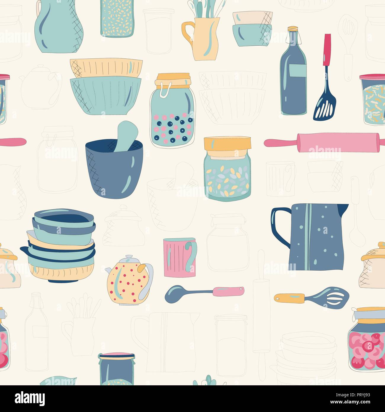 Colorful kitchen utensils, dishes, plates, cups, teapots. Pattern. on a dark background. - Stock Vector
